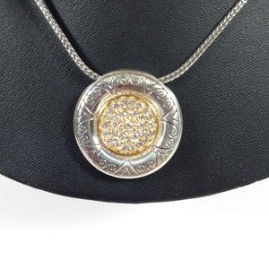 Brighton Sunflower Necklace Silvertone Pendant